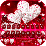 Valentine White Hearts Keyboard Theme for PC