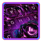 Neon Violet Flower Keyboard Theme for PC